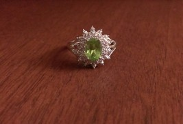 STERLING SILVER NATURAL GENUINE 1.25CT GREEN PERIDOT & DIAMOND RING  SIZE 7 - $57.60