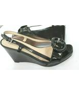 Prada Womens Black  Size 9 39 Patent  Leather Wedge Sandal Buckle Shoe - $123.75