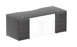 "Chiarezza 66"" Rectangular Desk Shell with Glass... - $959.99"