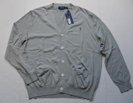 Polo Ralph Lauren Mens Pima Cotton Gray Cardigan Sweater XL Pony NWT - $59.95