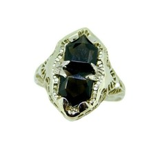 Art Deco 14k White Gold Specialty Cut Genuine Natural Onyx Filigree Ring... - $650.00