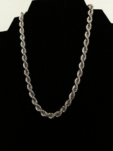Vintage Monet Signed Silver Tone Rope Link Choker Chain Necklace - $24.00