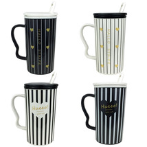 4 pcs Ceramic Tall White Black Stripe MUG Mix Lid & Spoon Teacups Coffee... - $18.94