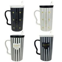 4 pcs Ceramic Tall White Black Stripe MUG Mix Lid & Spoon Teacups Coffee... - £14.39 GBP