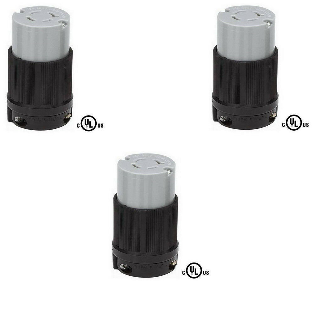 3 Pack of NEMA L15-20R Locking Connector, 20A 250V, 3Ø