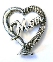 "Heart ""Mom""  Fine Pewter Figurine - Approx. 1 inch tall     (T234)"