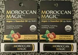 2x Moroccan Magic Argan & Essential Oil Lip Balm Peppermint Eucalyptus O... - $9.49