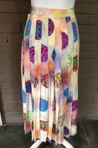 Escada -  Vintage- print multi color pleated skirt- 4 - $38.70