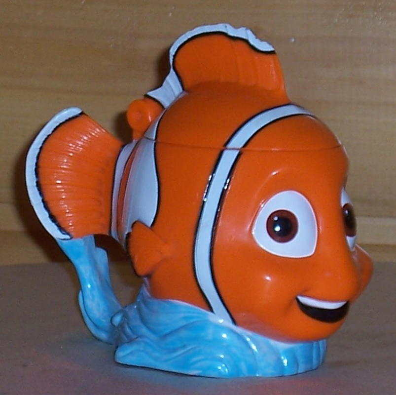 Primary image for DISNEY Orange ClownFish NEMO Figural Plastic Cup Mug with Flip Top