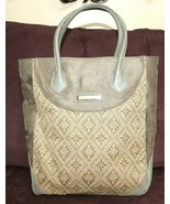 ❤️MURANO Olive Heather Suede Tapestry Leather Travel Luggage Tote GREAT!... - $23.74