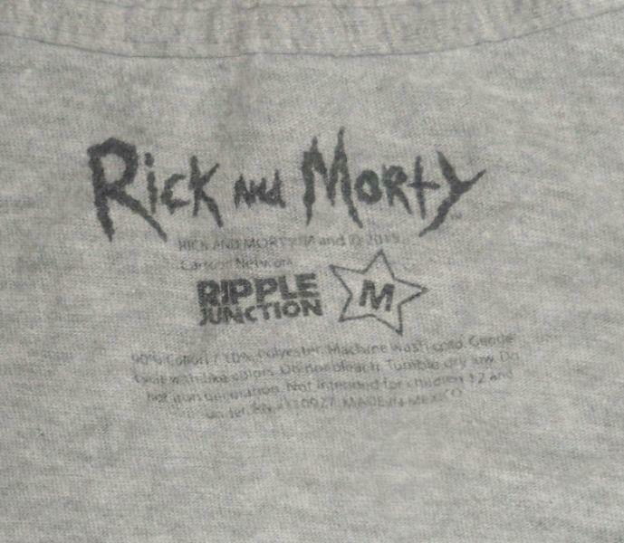 RIPPLE JUNCTION RICK AND MORTY GRAY WUBBA LUBBA DUB DUB GRAPHIC T-SHIRT MEDIUM