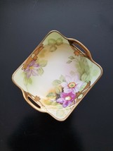 "Nippon Stunning Floral Square Dish Gold Pierced Handle Green Wreath M  6"" c1915 - $14.95"