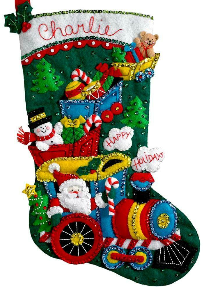 Primary image for Bucilla Choo Choo Santa Train Snowman Christmas Eve Felt Stocking Kit 86708