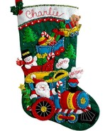 Bucilla Choo Choo Santa Train Snowman Christmas Eve Felt Stocking Kit 86708 - $37.95