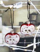Anthropologie Glass Apple Ornament Set (2) -NWT- Celebrate Your Core Values! - $19.95