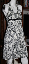 B-Darlin Size Medium (12) Halter Dress in Floral Black and Creme Fully Lined - $9.99