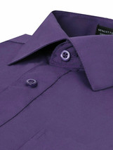 Omega Italy Men's Long Sleeve Solid Regular Fit Purple Dress Shirt - XL image 2