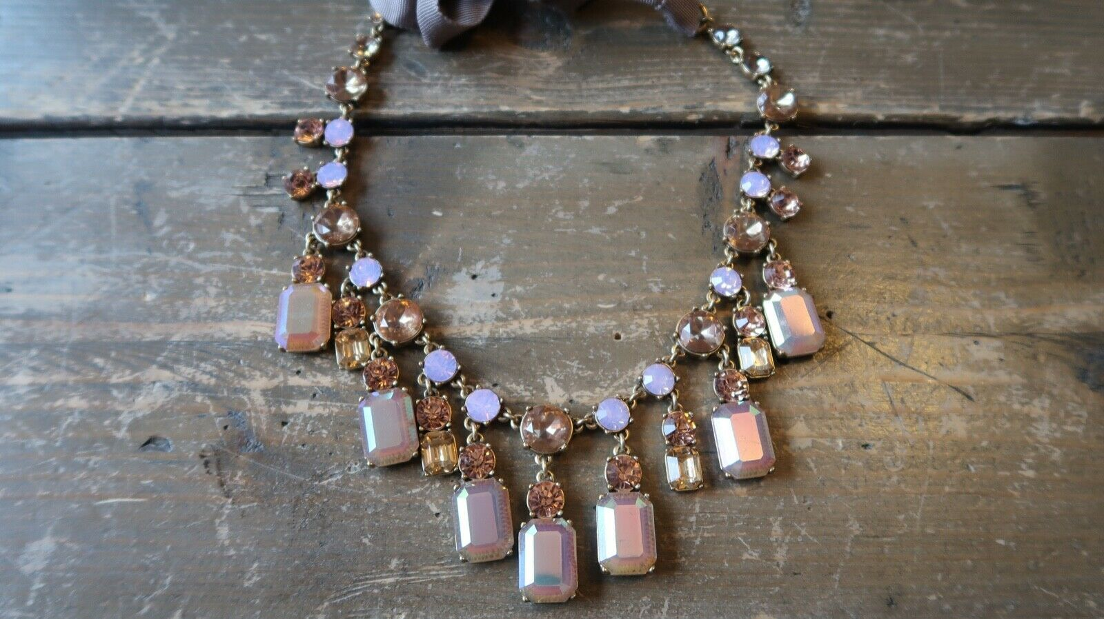Primary image for J Crew Pink Adjustable Rhinestone Statement Adjustable Necklace