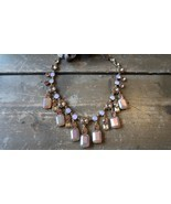J Crew Pink Adjustable Rhinestone Statement Adjustable Necklace - £61.23 GBP