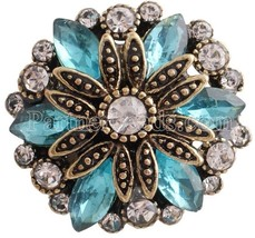 Blue Rhinestone Gold Plated Flower 20mm Charm For Ginger Snaps Magnolia ... - $6.19