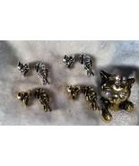 Cat Kitten pussy kitty earrings adorable silve or gold tone dangle rhine... - $10.00