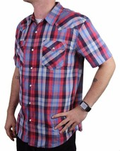 NEW LEVI'S MEN'S COTTON CASUAL BUTTON UP SHORT SLEEVE SHIRT PLAID RED-3LYLW6082 image 2
