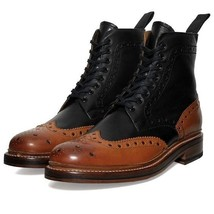 Two Tone Leather Boots for Men Custom Made Brogue Boots for Men Top Quality Shoe - $179.99 - $219.99