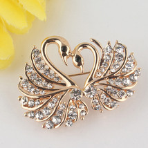 Brooches, 18 Yellow Gold Plated Love Swarovski Austria Crystal - $4.99