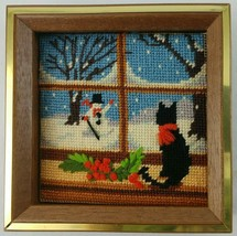 Cat Needlepoint Finished Framed Jiffy Winter Window Floral Snow Multi Co... - $29.95