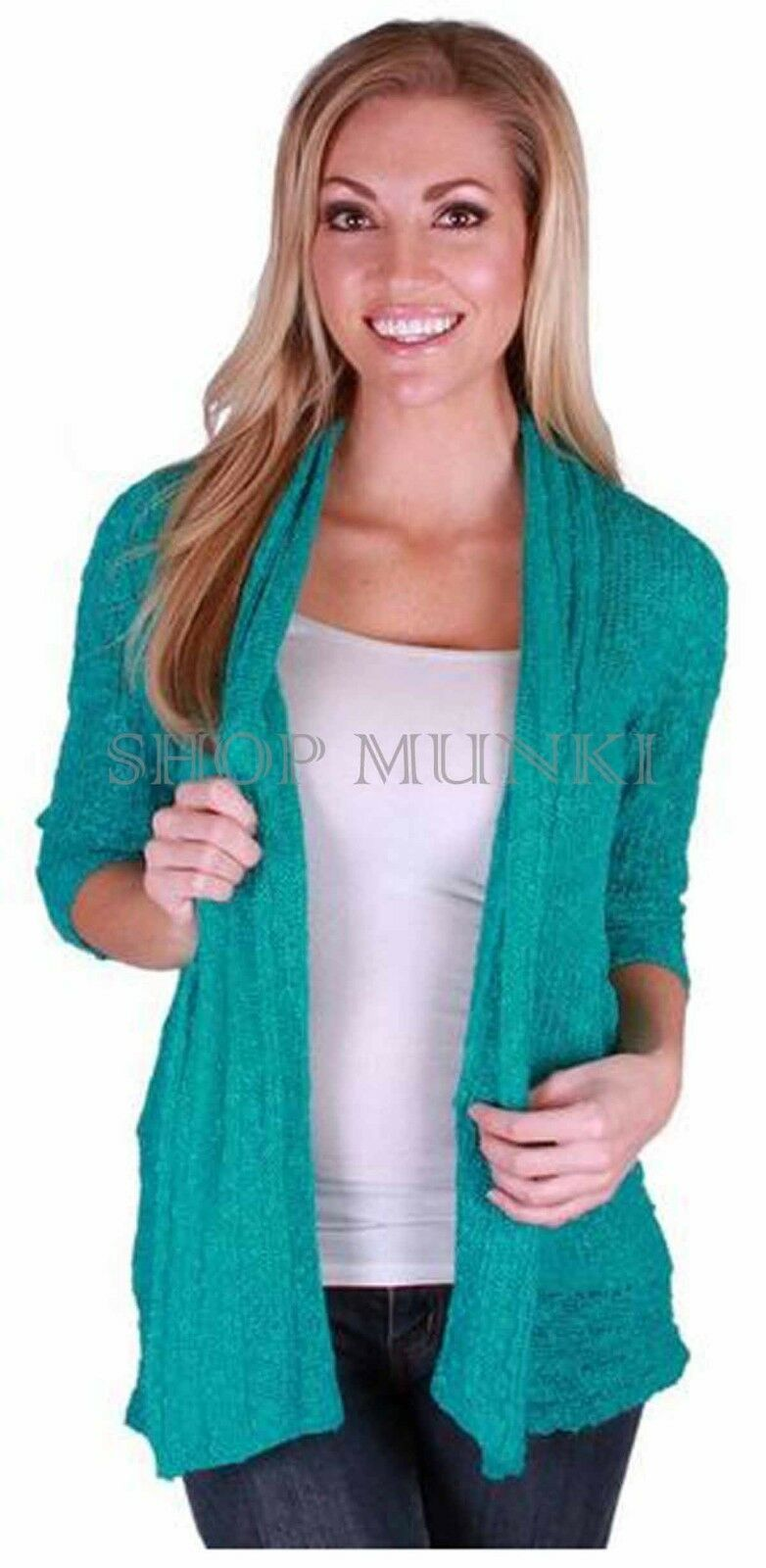 Primary image for Fever Women's Sheer Slub Knit Open Cardigan Sweater Green Sz S  ret $59