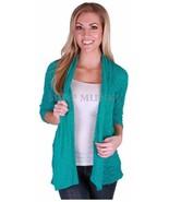 Fever Women's Sheer Slub Knit Open Cardigan Sweater Green Sz S  ret $59 - $14.79