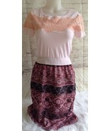 Maison Jules Women's Dress Small Knit Lace Top Skirt Casual Pink Peach F... - $14.84