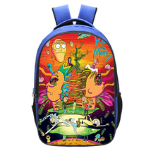WM Rick And Morty Backpack Daypack Schoolbag Bookbag Blue Type Head - $19.99