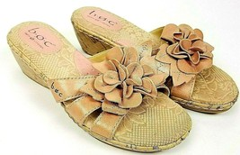 BOC Born Concept Womens Cork Wedge Leather Sandals Size 6 Peach Flower - $10.45