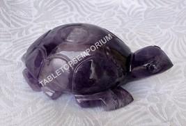 "3"" Amethyst Tortoise Figurine Decorative Living Room Handmade Gift Decor... - £74.85 GBP"