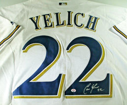 CHRISTIAN YELICH / AUTOGRAPHED MILWAUKEE BREWERS PRO STYLE BASEBALL JERSEY / COA image 3