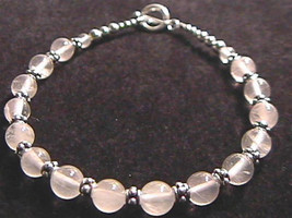 "Rose Quartz & Sterling Silver Bali Bead Bracelet 7.5""  925 SS - $15.05"