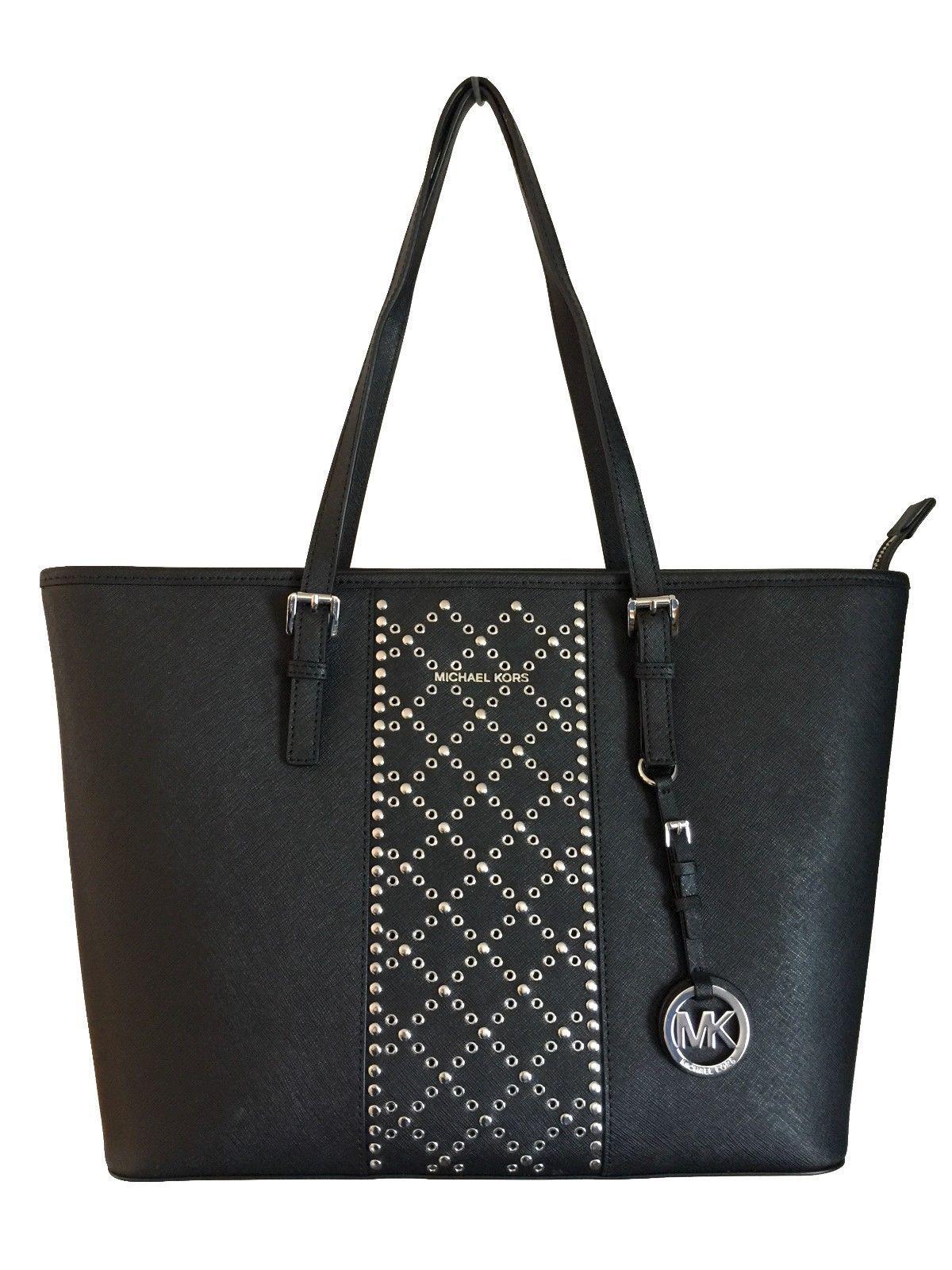 e5161240a0ff S l1600 10. S l1600 10. Previous. NWT MICHAEL KORS Jet Set Travel Top Zip  Tote Black Grommet Leather Bag Purse