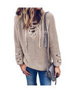 2017 Women V Neck Knitted Lace-up Sweater Striped Bandage Cross Ties Pullover Lo - $27.00