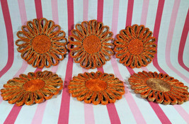 1960's Flower Power Orange Woven Abaca Fiber 6pc Flower Coaster Set Phil... - $16.00