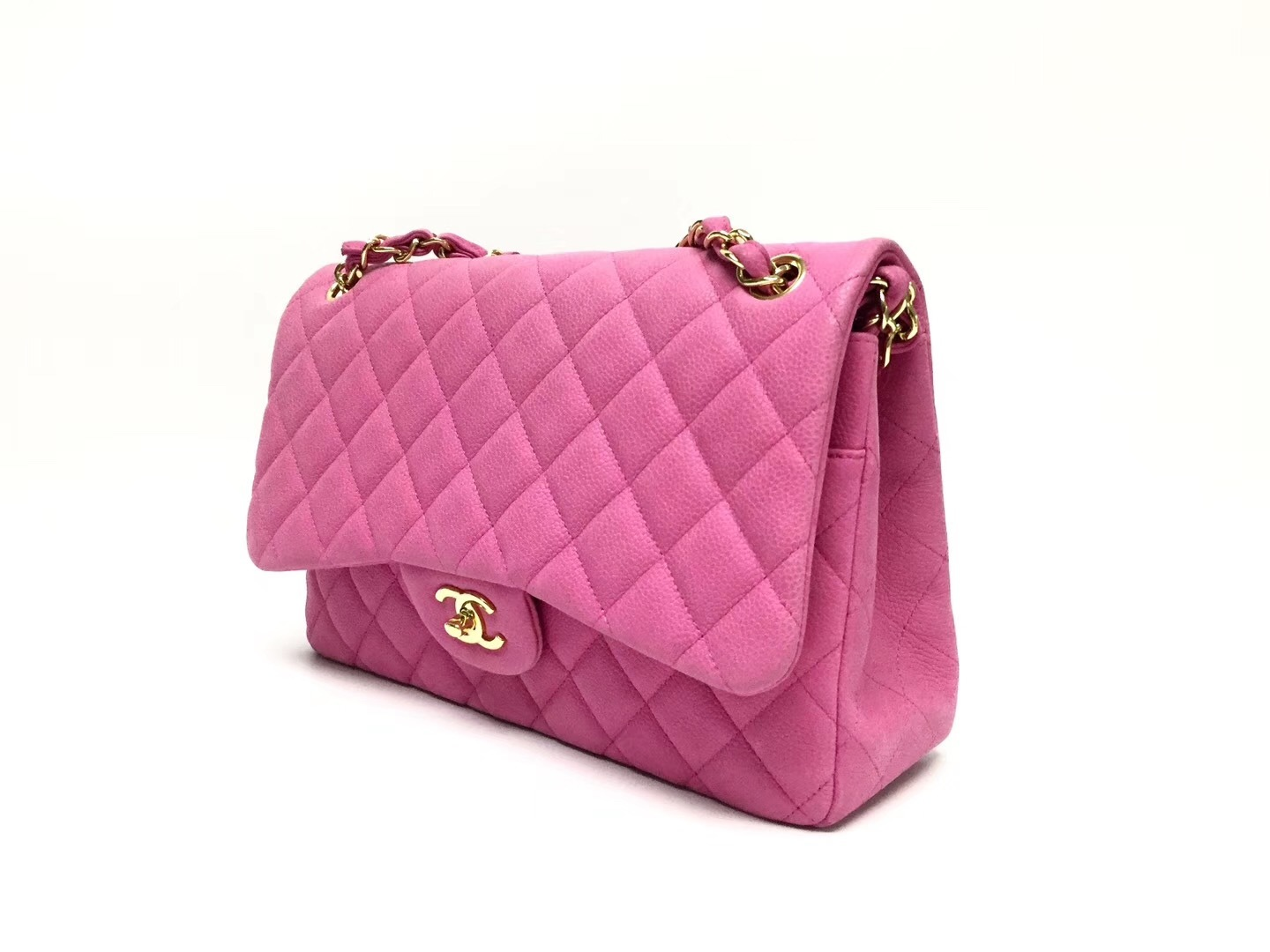 AUTHENTIC CHANEL PINK QUILTED CAVIAR JUMBO CLASSIC DOUBLE FLAP BAG GHW