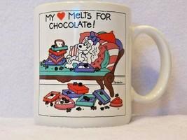 1982 Hallmark Ribbons My Heart Melts For Chocolate Coffee Mug Cup Carpenter - $17.30