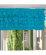 Chiffon TEAL BLUE Ruffle Layered Window Valance any size - $29.99+