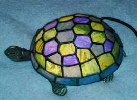 """Tiffany Style Land Turtle Accent Lamp Blue Green Table Night Light 9""""  - $149.99"""