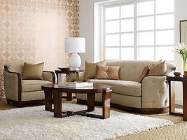 Art Deco Design Brown Fabric Living Room Set - Wood Trim Sofa Couch & Ch... - $54.693,58 MXN