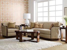 Art Deco Design Brown Fabric Living Room Set - Wood Trim Sofa Couch & Ch... - €2.498,43 EUR