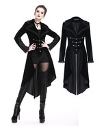 Black Velvet Victorian Tailcoat Lace Trim Military Goth Jacket Spring Fa... - $83.24
