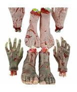Halloween Broken Hand Foot Prop Realistic Fake Body Parts Haunted House ... - $27.29