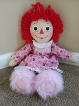 """Raggedy Ann Doll Bedtime Hasbro 18"""" Pink Slippers Nightgown 2002 - $18.50"""