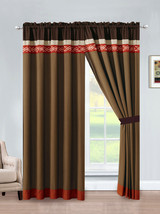4-Pc Rania Geometric Embroidery Curtain Set Rust Orange Brown Beige Mocha Sheer - $40.89
